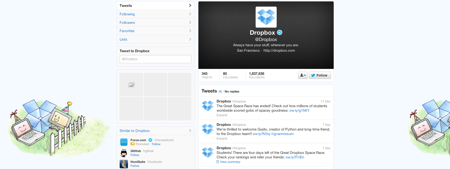 Twitter Profile For Dropbox Showing The Background
