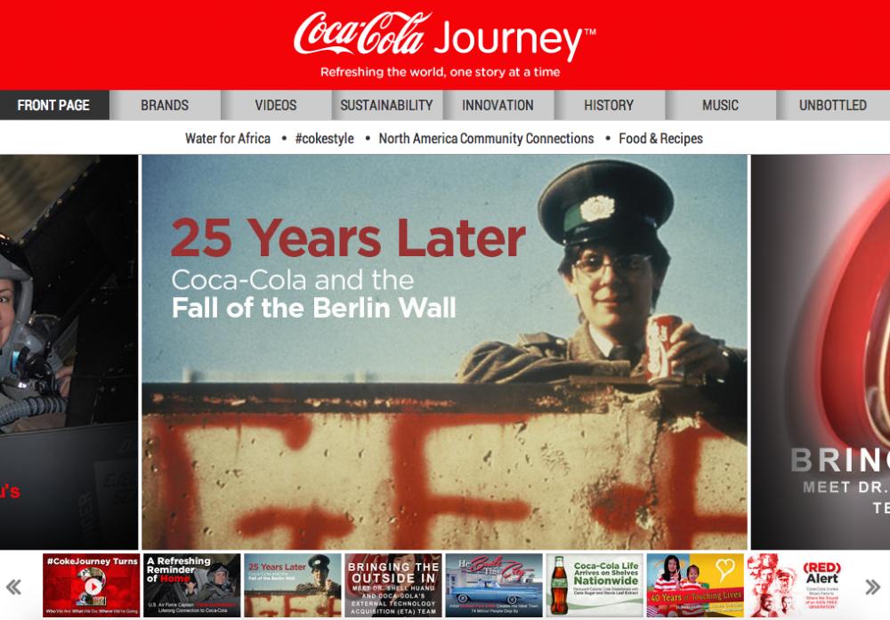 Coca-Cola Journey homepage